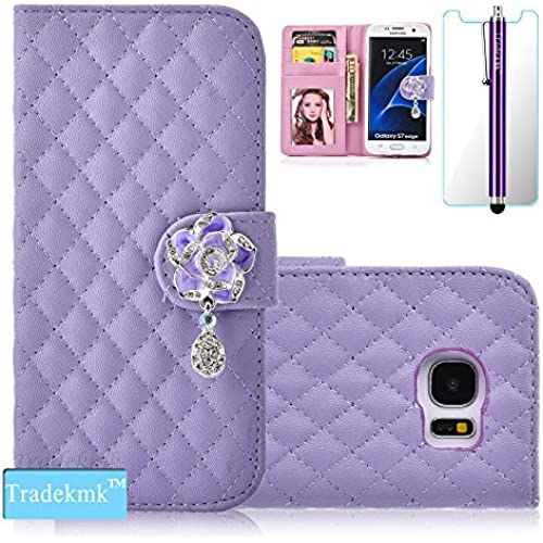 Galaxy S7 Case,S7 Case, Tradekmk(TM); Camellia Design PU Leather Card Holders And Stand Wallet Phone Case (Purple) For Samsung Galaxy S7 Sales