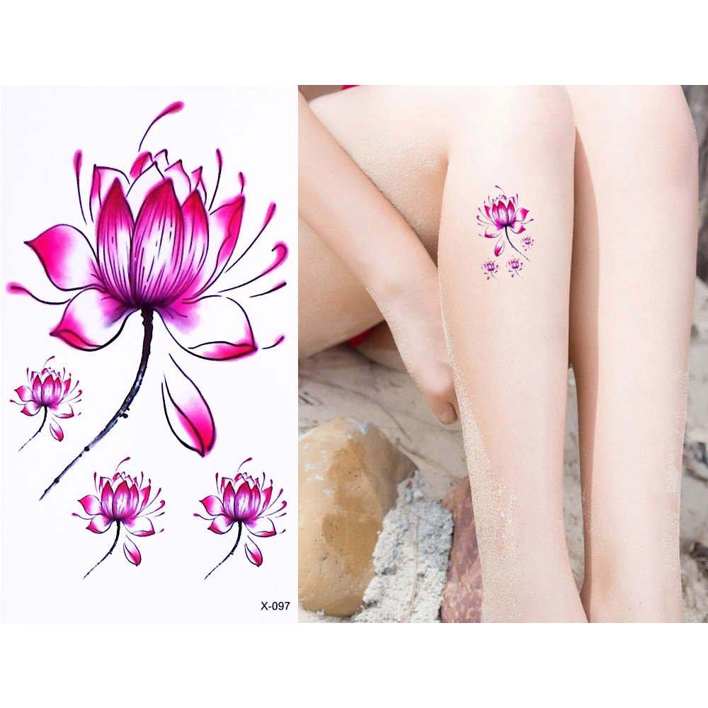 24 Sheets Pink Lotus Flower Style Temporary Waterproof Tattoo
