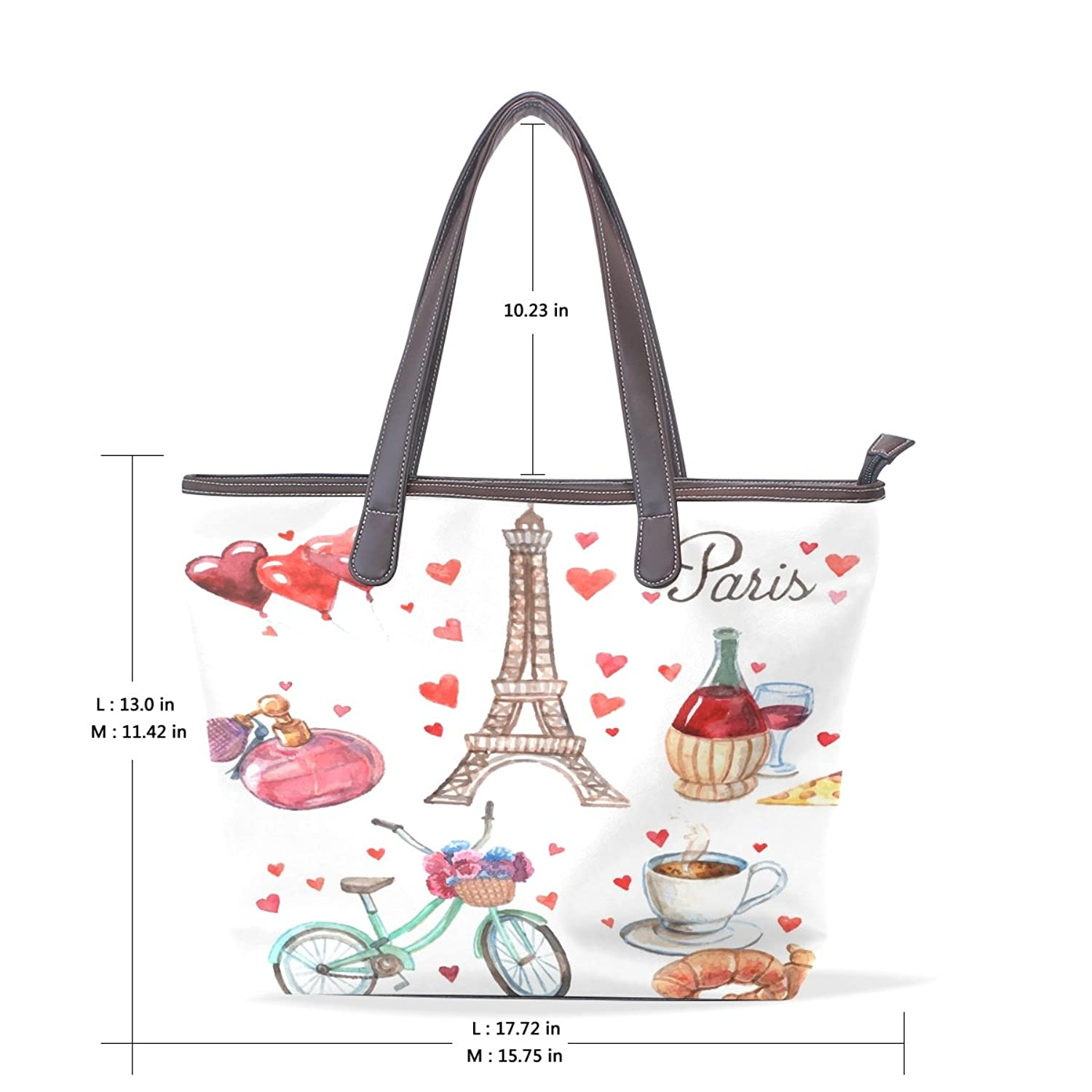 BYouLockX Paris Holiday Pattern Leather Handbags Satchel ShoulderBag for Women