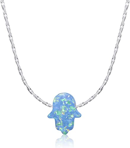 HAMSA HAND WITH OPAL PENDANT sterling silver hallmarked Gift Box