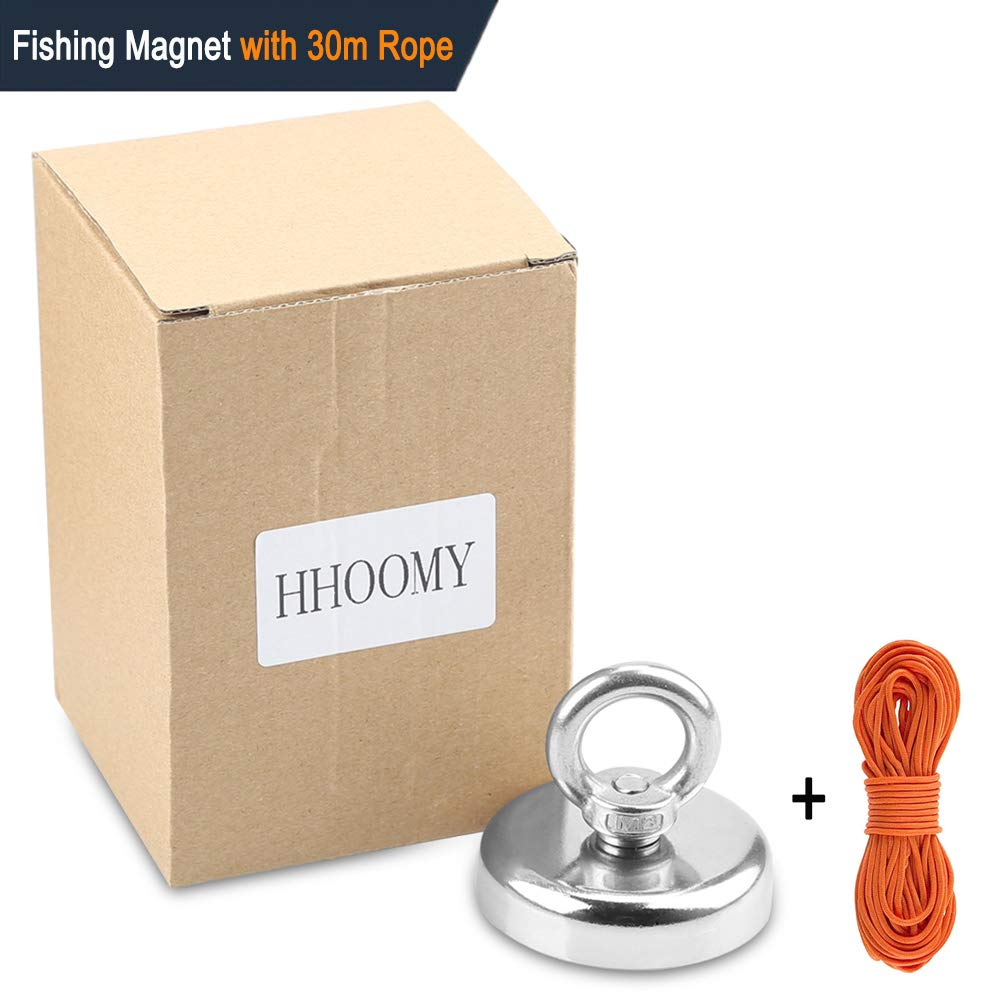 Super Strong Fishing Magnet | 350 lbs Pulling Force Rare Earth Neodymium Magnet with Countersunk Hole and Eyebolt | Diameter 2.36 inch (60mm) with 100 feet Rope Pulling Force Super Strong Neodymium Ma by HHOOMY (Image #7)