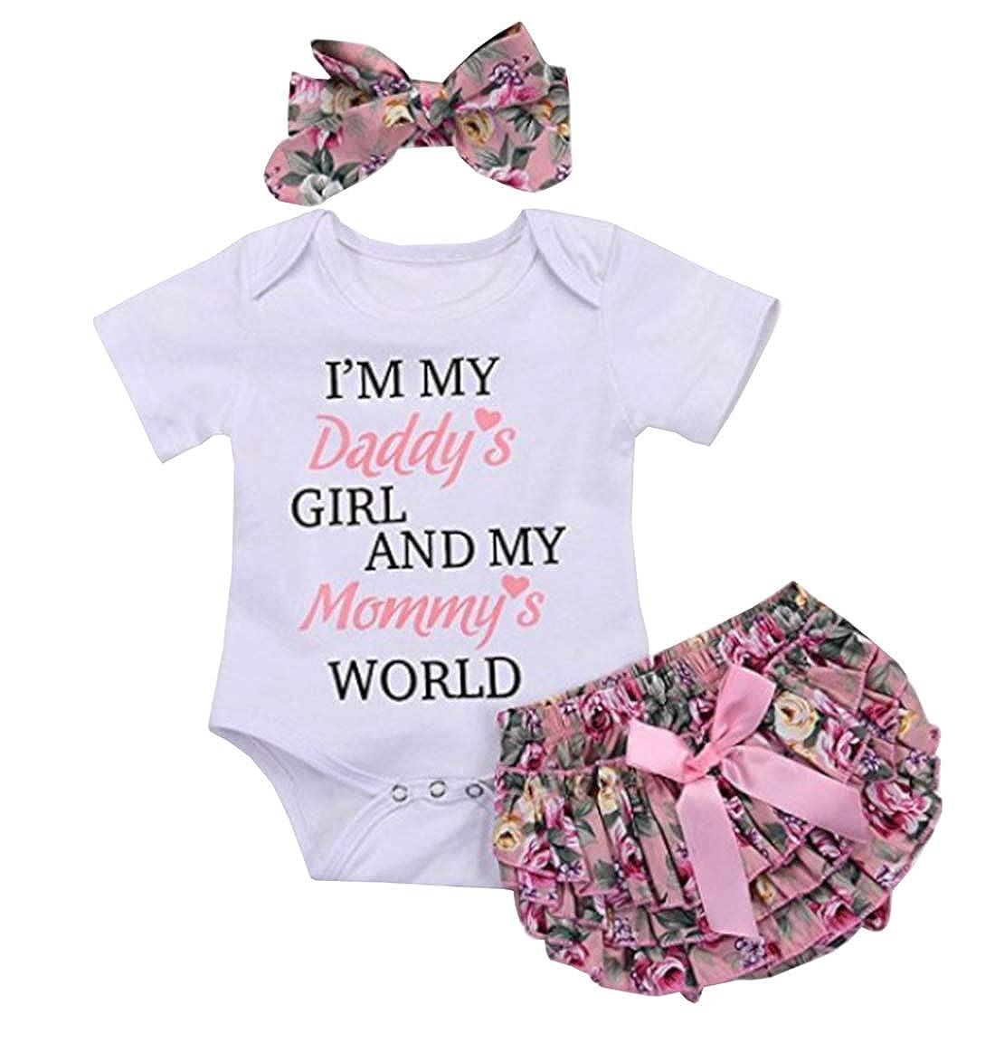 HUHUXXYY Toddler Baby Girls Short Sleeve Cotton Snap Romper+Panty+Headband 3Pcs