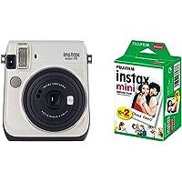 Fujifilm Instax Mini 70 Appareil Photo Instantané Blanc + Fujifilm - Twin Films pour Instax Mini - 86 x 54 mm - Pack 2 x 10 Films