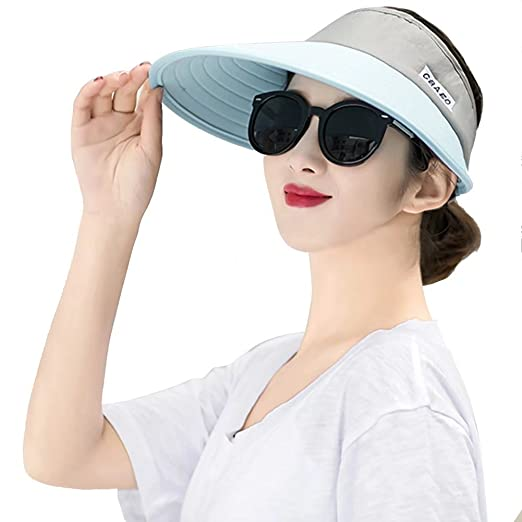 Women Sun Hats Wide Brim UV Protection Summer Beach Visor Cap Packable Visor  Blue   Grey d2ba836e6e5