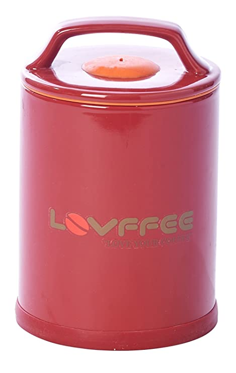 Amazoncom LOVFFEE Red Ceramic Premium Coffee Canister with Coffee