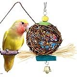 ペット用品 鳥用品 インコ オウム おもちゃ 吊り下げ 噛む玩具 籐ボール ストレス解消