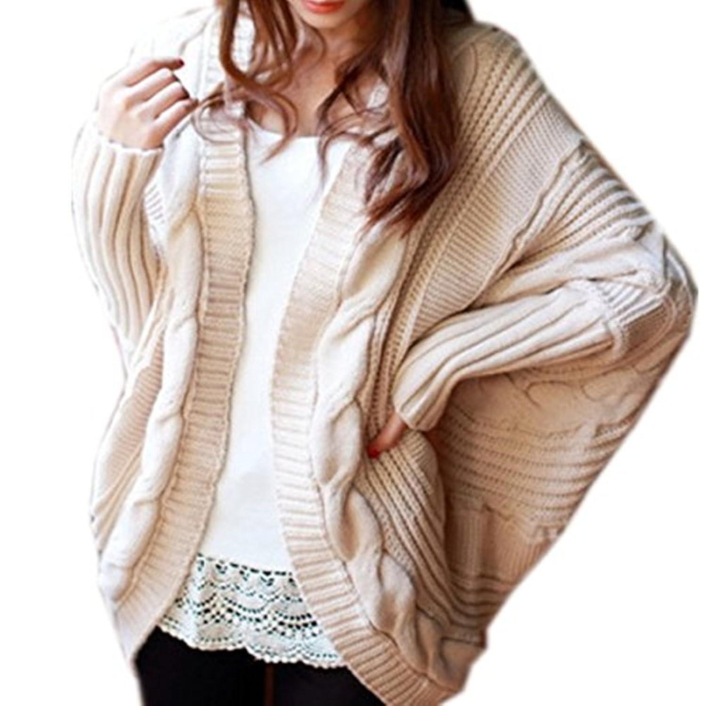 Damen Strick Mantel Lange Ärmel Pullover Kabel Gestrickte Strickjacke Strick Cardigan mit Kragen Mantel Outwear Langarm für Herbst Winter 6 Farben