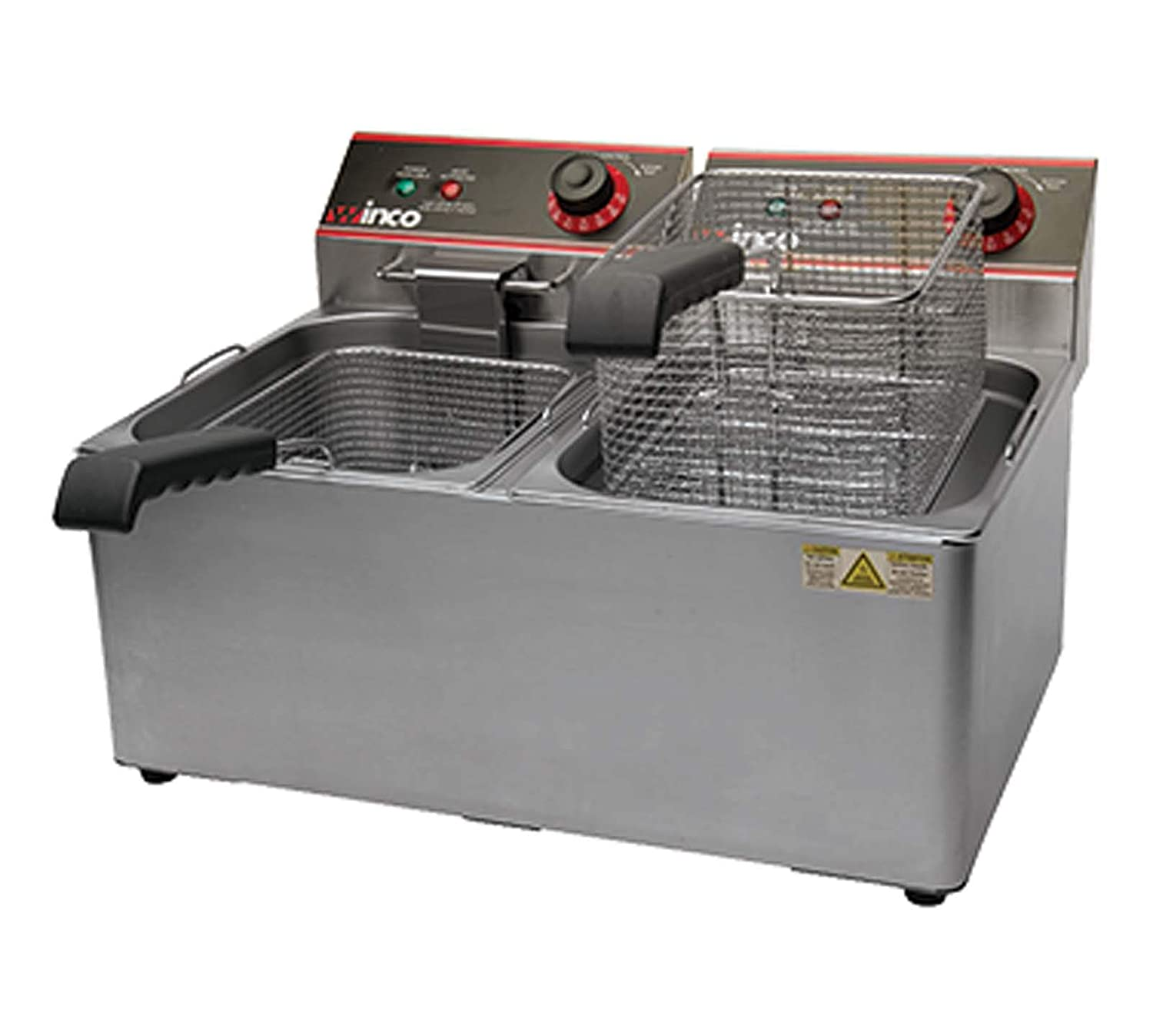 Winco EFT-32 Electric Deep Fryer, 1800W, 120V, 60Hz, Twin Well, 32 lbs. Oil Capacity, Lot of 1