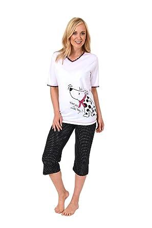 Farbbrillanz unverwechselbares Design klassische Stile Damen Pyjama Schlafanzug Kurzarm Caprihose Baumwolle ...