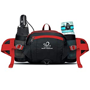 WATERFLY(ウォーターフライ) ウエストバッグ ショルダー付き 水筒入れ 多機能 軽量 大容量 メンズ レディース