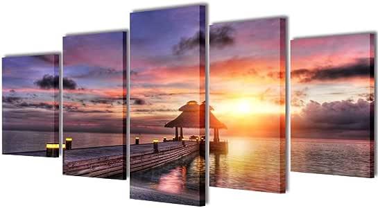 vidaXL Set Imagen Cuadro Pintura Póster Lienzo Pared Deco Playa con Pérgola 200x100cm: Amazon.es: Hogar