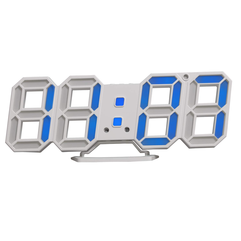 LED reloj de pared, reloj digital, Timorn 3D LED reloj despertador con 3 brillo ajustable, reloj LED azul, reloj de escritorio (azul)