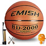 "EMISH Basketball with Pump, Needles, Net, Basketball Net (Size 7/29.5"")"
