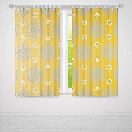 Amazoncom Yoliyana Grey And Yellow Bedroom Curtainsretro