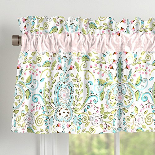 Carousel Designs Love Bird Damask Window Valance Rod Pocket