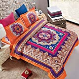 Wake In Cloud - Mandala Comforter Set Queen, 3-Piece Orange Bohemian Boho chic Medallion Pattern Printed, Soft Microfiber Bedding (3pcs, Queen Size)