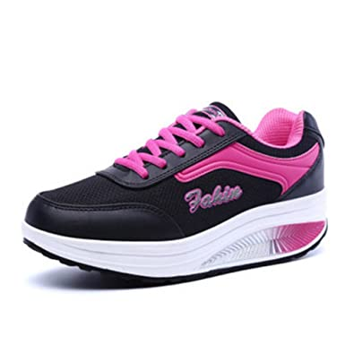 225570c24304 Hishoes Women Lightweight Trainers Ladies Walking Shoes Casual Tennis  Sneakers Wedges Air Sports Shock Absorbing Fitness Shoes Black   Amazon.co.uk  Shoes   ...