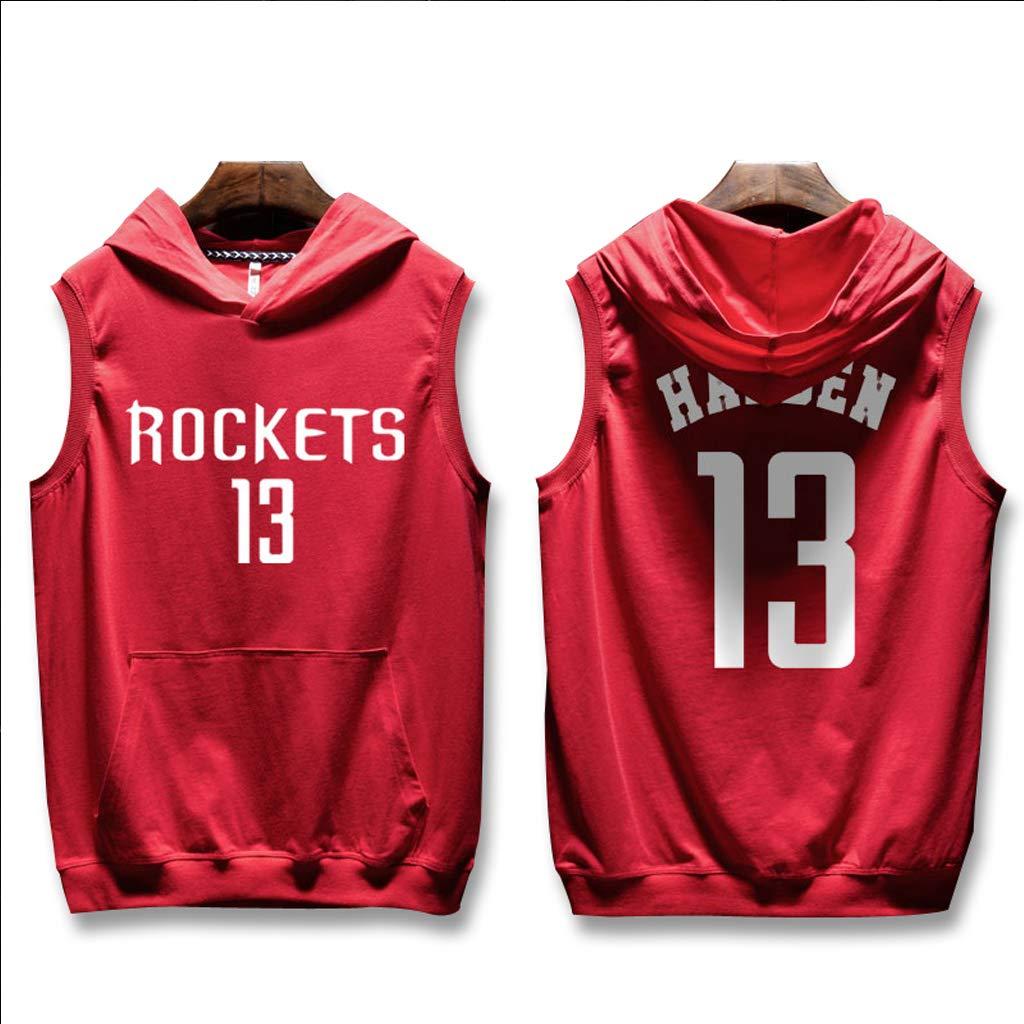 Fitness Hip Hop Houston Rockets James Harden /Ärmelloses Mit Kapuze T-Shirt Stra/ße Basketball Uniform Jersey Herren Sport Tops Printed Weste