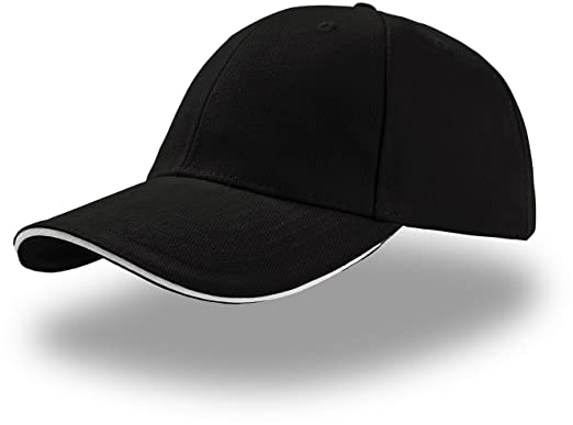 Atlantis Liberty Sandwich Heavy Brush Cotton 6 Panel Baseball Cap -  Black Ecru - OS a71022ee509
