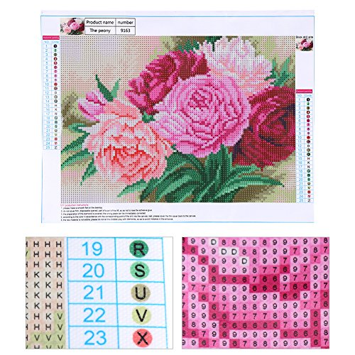 Yosooo 3040CM 5D DIY Diamond Drawing Peony Flower Pattern Rhinestone Embroidery Painting Cross Stitch Art Craft Home Wall Decor