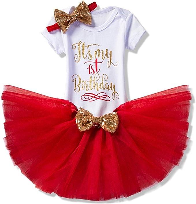 Bebé Niña 3pcs Corona Patrón de primer cumpleaños para vestido de ...