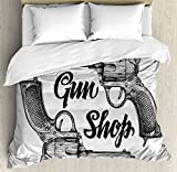 Western King Size Duvet Cover Set by Ambesonne, Modern Western Movies Cowboy Texas Times Sketchy Style Two Guns Pistols, Decorative 3 Piece Bedding Set with 2 Pillow Shams, Black Pale Grey