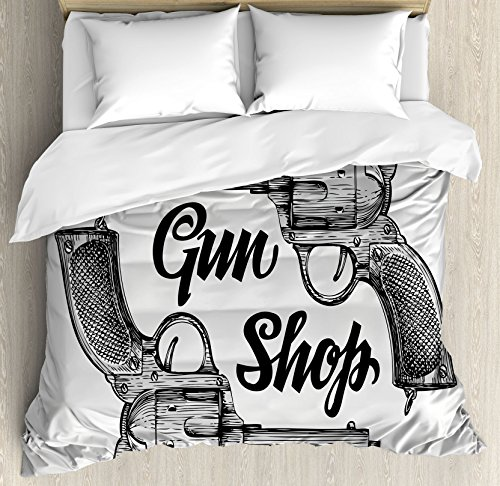 Western Queen Size Duvet Cover Set by Ambesonne, Modern Western Movies Cowboy Texas Times Sketchy Style Two Guns Pistols, Decorative 3 Piece Bedding Set with 2 Pillow Shams, Black Pale Grey by Ambesonne