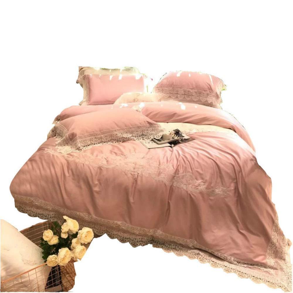 Coreycoco Home 寝具コットンホームテキスタイルプリンセススタイル小さな新鮮で素敵な100 500 tコットンヨーロッパ刺繍レースシートキルトカバーダブルベッドパレススタイルすべての季節に適して耐久性のあるコットンホームテキスタイル (Size : M) B07QX58MYT  Medium