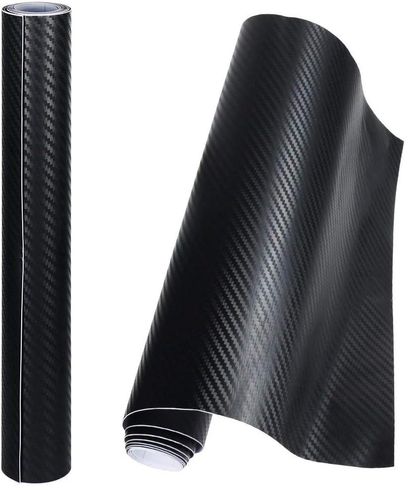 Anpro 2 Rollos Vinilo Coche Fibra de Carbono Adhesiva 3D,Cubierta Adhesiva Negro para Coche,Pegatinas para Coche,Envoltura de Moto,Bricolaje,1520mmX300mm