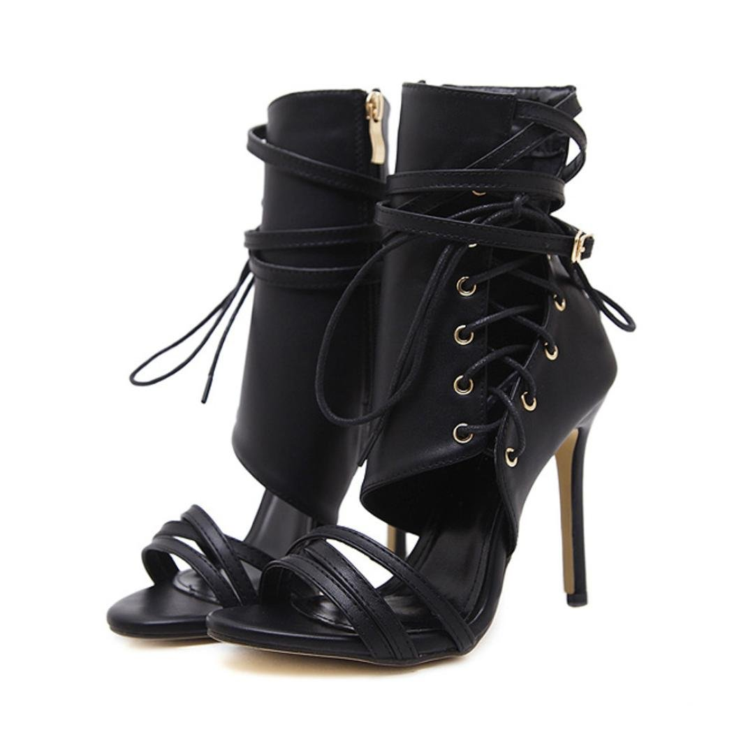 Baigoods Hot Sale Roman Ankle Strap Buckle Strap Shoes Women locomotive Shoes Sexy Sandals High Thin Heels Woman Ankle Boots (US:6.5, Black)