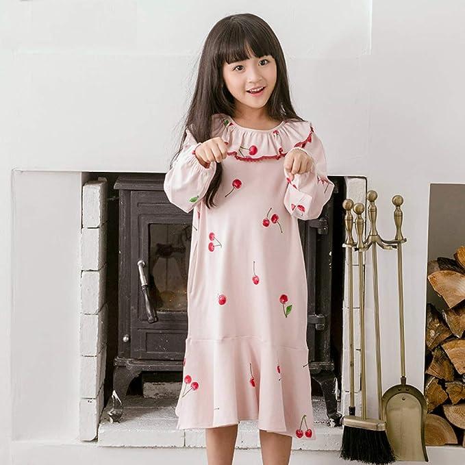 GZZ Pijamas para Niños Camisones Niñas Conjunto De Pijamas Ropa De Dormir Ropa De Noche Algodón Cuello Redondo Primavera Otoño Volantes Estampados Faldas ...
