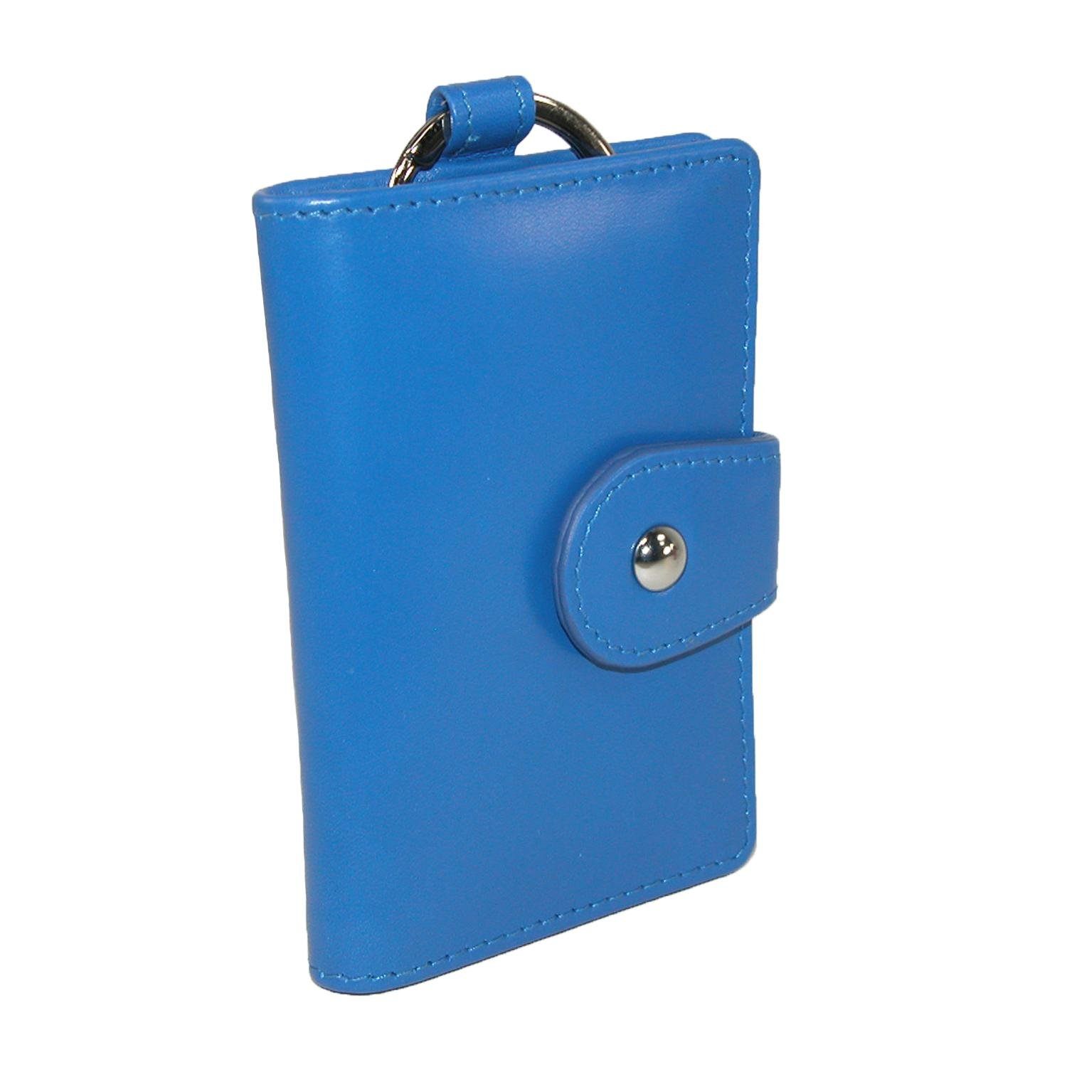 CTM Women's Leather Card and ID Holder Key Chain Fob, Blue