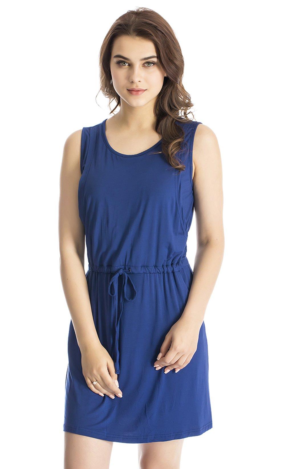 Modern Mummy Women's Pure Sleeveless Maternity Nursing Dress for Breastfeeding Blue Medium
