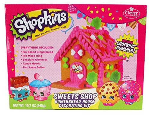 Shopkins Sweets Shop Gingerbread House Decorating Kit, 15.7oz (Gingerbread Candy)