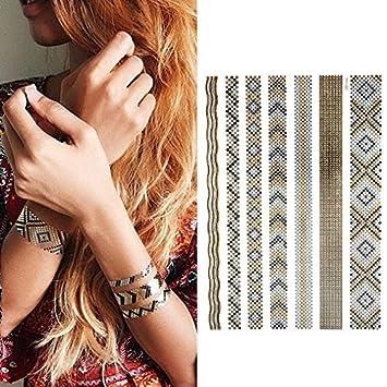 Oottati Tatuajes Temporales Dorados Metalicos Purpurina Diamante ...