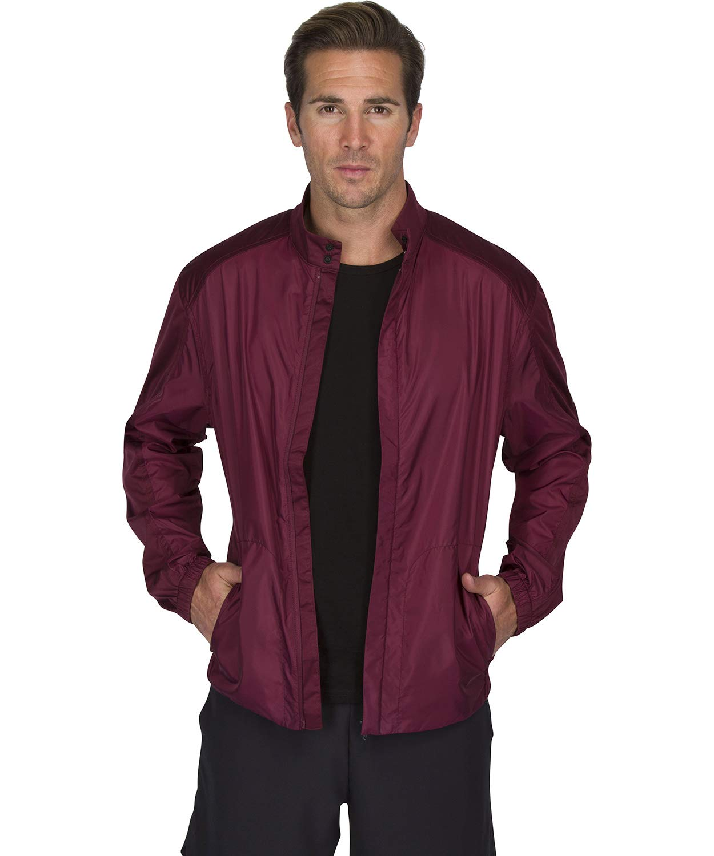 Three Sixty Six Full Zip Golf Jacket for Men - Lightweight Mens Rain Coat - Water Resistant Windbreaker Dark Burgundy by Three Sixty Six
