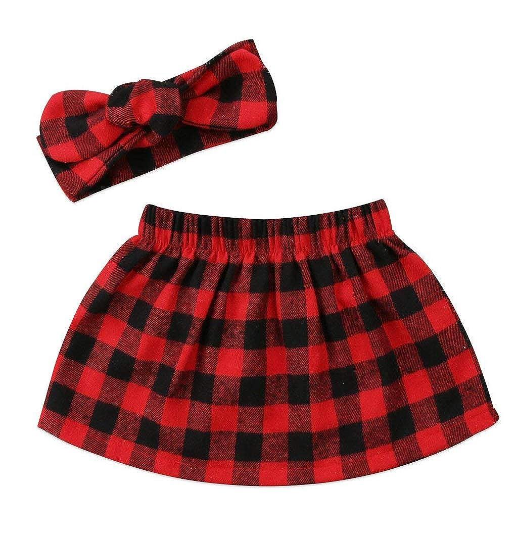 Newborn Baby Girls Tutu Skirt Headband Outfit 2PCS Christmas Clothes Set