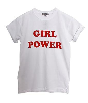 5fc09e03d LOVE White Girl Power Slogan Tshirt: Amazon.co.uk: Clothing