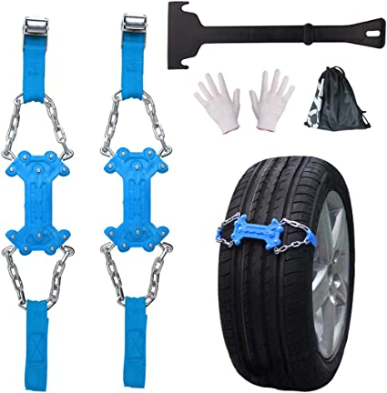 Red, Width:130mm-265mm 2pcs Universal Anti-Skid Chains of Wheel Winter Slip Proof Vehicle SUV Chain Emergency for Snow Mud Ice with Snow Shovel Glove Snow Chains Car Traction Aid