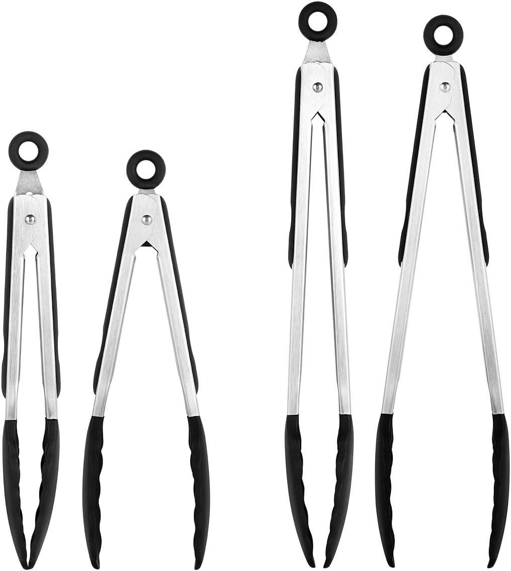 Tenazas de acero inoxidable con utensilios de cocina 9 antideslizante y pesado de Soft-agarre manejar clip de bloqueo inteligente resistente al calor grado de alimentos
