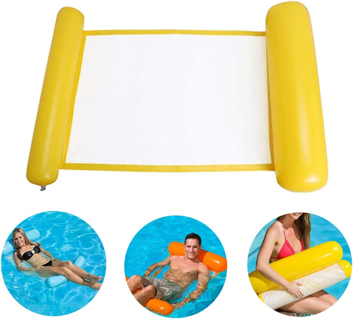 upstartech Silla Inflable de flotación de la Silla de la balsa del reclinable de la Hamaca de la Cama del Flotador del Agua para el Partido de la Piscina de la Playa con Bomba de Aire ,130 * 73 cm