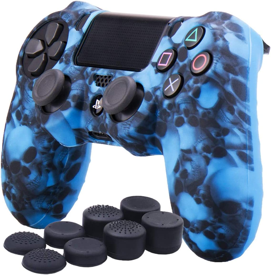 Printing Camouflage Grey Ps4 Controller Skin Dualshock 4 Cover Grip Anti Slip Rubber Silicone Gel Case Protector Sheel For Sony Ps4 Ps4 Slim Ps4 Pro Controller With 8 Thumb Grips Playstation 4 Kolenik Electronics