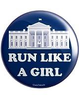 """Geek Details Run Like A Girl 2.25"""" Pinback Button"""