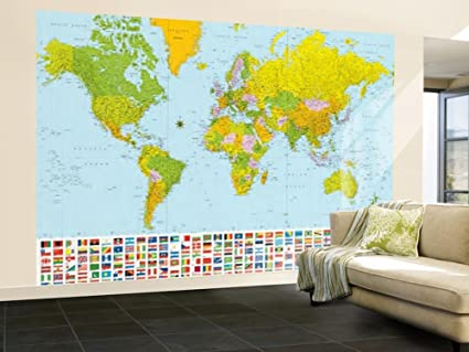 Amazon 100x144 map of the world with flags huge wall mural 100x144 map of the world with flags huge wall mural art gumiabroncs Gallery