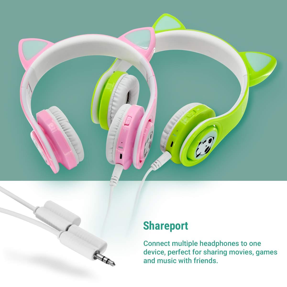 Kabellose Bluetooth Kopfh/örer f/ür Kinder Jugendliche ab 2 Mit LED Lichter Faltbarer Kindersicherheit Lautst/ärkebegrenzung Over Ear HiFi Stereo Kopfh/örer mit Micphone f/ür M/ädchen Jungen Gr/ün
