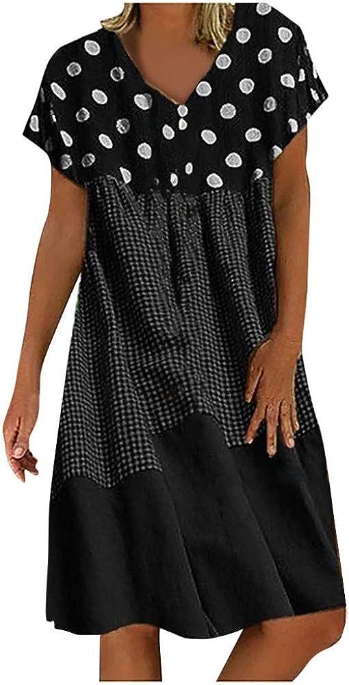 Ropa de Playa Labor de Retazos Sundress Verano 2020 Vestidos Casual Fiesta Manga Corta Cuello En V Mujer Bohemio Vestido de Lunares Tallas Grandes Labor de Retazos S-5XL