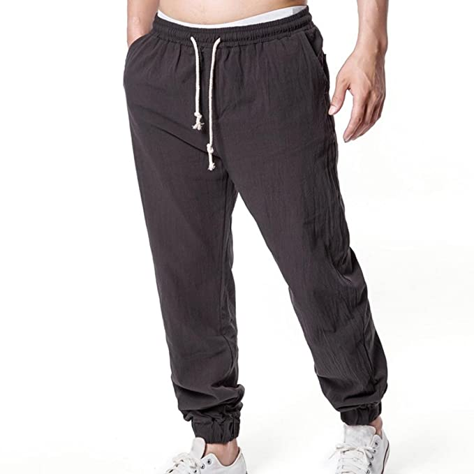Amazon.com: Amsky❤ Pantalón de lino para hombre, verano ...
