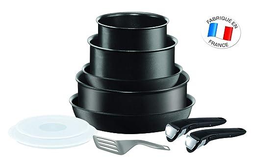 Tefal L6549702 Set de sartenes 22 y 26 cm + cazos de 18 y 20 cm + guisera de 24 cm + 2 Tapas + espátula + 2 Mangos Intercambiables, Aluminio, Negro