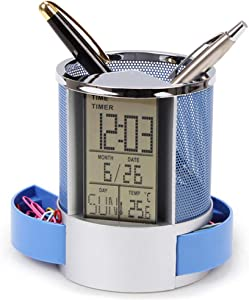 QLIGHA Multifunctional Pen Holder with Electronic Clock, Metal mesh, Round Pen Holder with Digital LCD Screen Temperature Display for Home Office