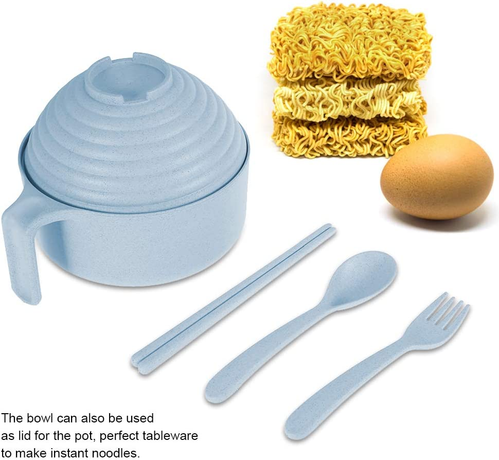Wheat Straw Pot Set with Chopsticks Fork Spoon Bowl Tableware Instant Noddle Bowl for Students Dorms Blue Bowl Set